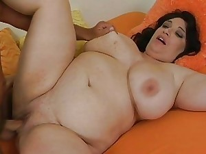 Giant nymph seduces stud to pummel her very well