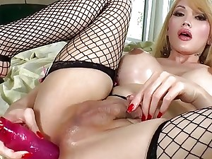 Buxomy Tranny Eva Lin Nails Her Caboose With A Faux-cock