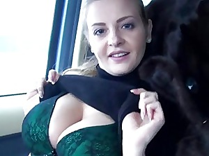 Fledgling European tart shows her massive boobies and ripped