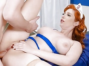 Big juggs redhead nurse asshole nailed