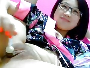 Cute Asian toddler toying there the brush arse