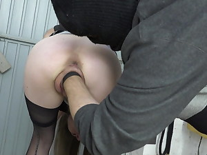 Ample pussy fisted in cuffs