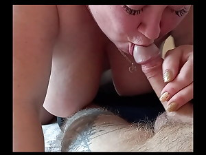 She swallows cock until I cum
