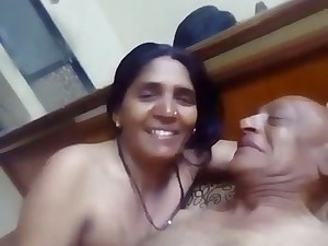 Indian older aunty having lovemaking with her husband