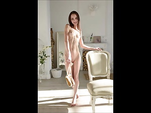 Scrawny Brunette Peel And Spread Naked To Show Off Her