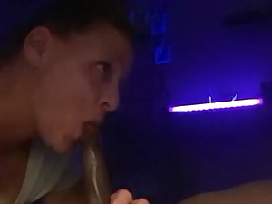 Milky mom deep throating black cock