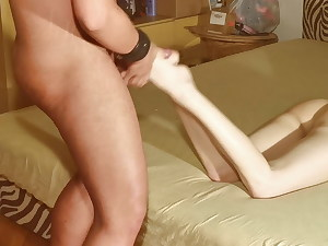 Successful slave allowed to jerk off his cum on Mistress soles pt1