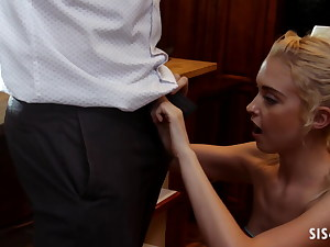 Chloe Virgin sits on stepdad's dick in the kitchen