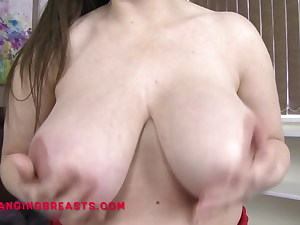 Big tits, Brit girl J J gets them out at home