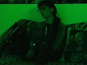 Gorgeous goth domina smoking in mysterious green light pt2 HD